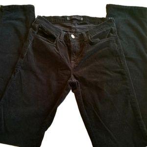    J BRAND    Black Cigarette Leg Courduroy Pants